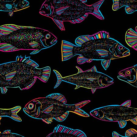 bream: Seamless vector sea pattern, different fish silhouettes. Hand drawn fauna wallpaper, aqua nature continuous background.