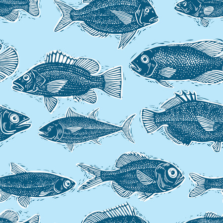 sea bream: Freshwater fish endless pattern, vector nature and marine theme seamless tiling. Seafood wallpaper, zoology idea background. Illustration