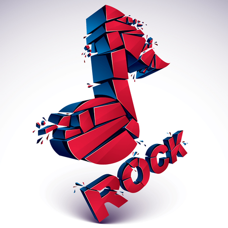 Red 3d vector musical note broken into pieces, explosion effect. Dimensional art melody symbol, rock music theme.