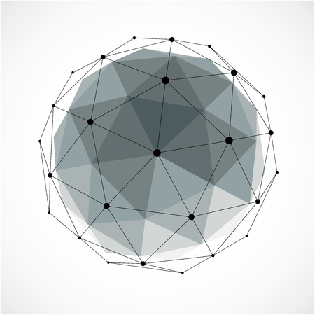 Abstract 3d faceted figure with connected black lines and dots. Gray vector low poly design element, cybernetic orb shape with grid and lines mesh.