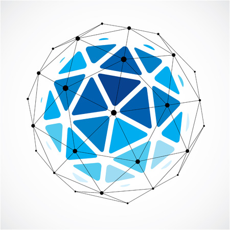 3d vector low poly spherical object with black connected lines and dots, geometric blue wireframe shape. Perspective orb created with triangular facets.