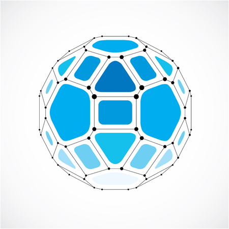 facet: Vector dimensional wireframe low poly object, spherical blue facet shape with black grid. Technology 3d mesh element made using pentagons for use as design form in engineering.