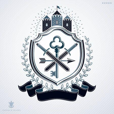 arsenal: Heraldic design, vector vintage emblem.