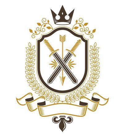 arsenal: Vintage emblem, vector heraldic design.