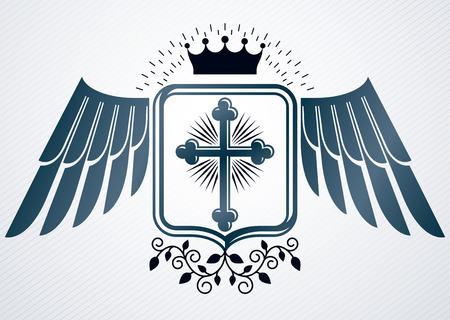 armory: Vintage decorative heraldic vector emblem composed with religious cross, eagle wings and royal crown