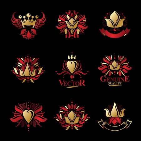 Royal symbols, Flowers, floral and crowns, emblems set. Heraldic vector design elements collection. Retro style label