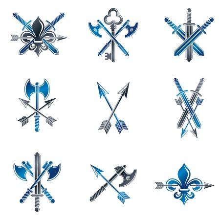 arsenal: Vintage Weapon Emblems set. Heraldic coat of arms decorative emblems collection. Illustration