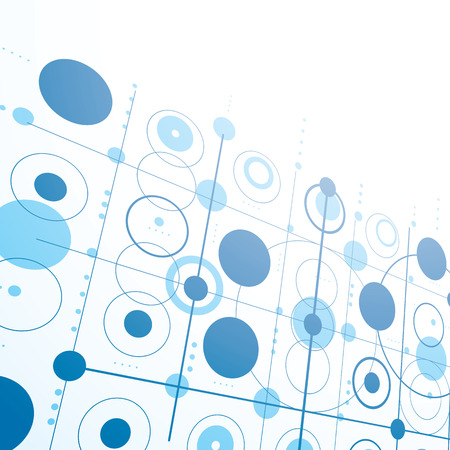 Bauhaus art dimensional composition, perspective blue modular vector wallpaper with circles and grid. Retro style pattern, graphic backdrop for use as booklet cover template. Illustration