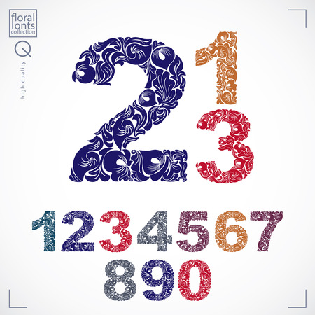 Set of vector ornate numbers, flower-patterned numeration. Colorful characters created using herbal texture.