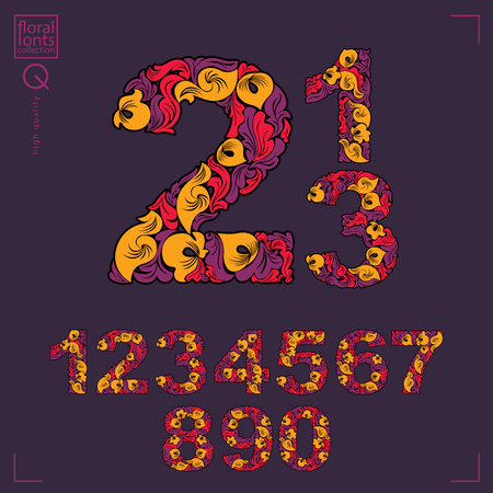 sans: Set of beautiful numbers decorated with herbal ornament. Vector numeration made in floral autumn style. Illustration