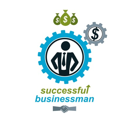 conceptual symbol: Successful Businessman creative , vector conceptual symbol isolated on white background. Special and unique sign. Gears and cogs system.