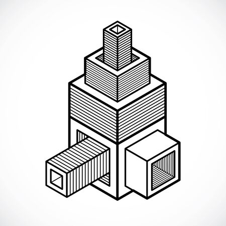3D design, abstract vector cube shape. Illustration