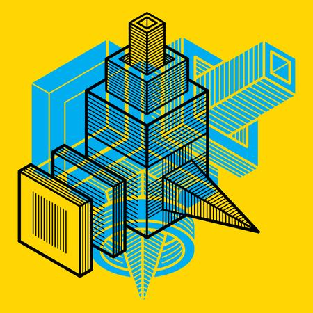 forme: Ingénierie forme abstraite, 3d vecteur chiffre polygonale.
