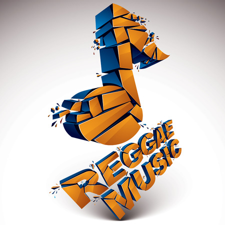 Orange 3d vector shattered musical note with specks and refractions. Dimensional facet design music demolished symbol. Reggae music theme