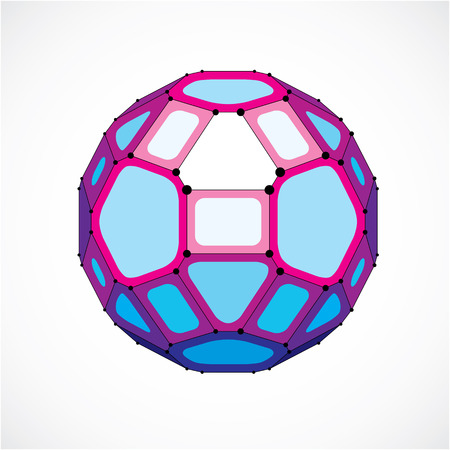 Vector dimensional wireframe low poly object, spherical purple facet shape with black grid. Technology 3d mesh element made using pentagons for use as design form in engineering.