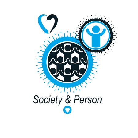 interacts: Mankind and Person conceptual , unique vector symbol created with different icons. System and social Matrix sign. Person and world interacts with each other. System and social Matrix sign. Illustration