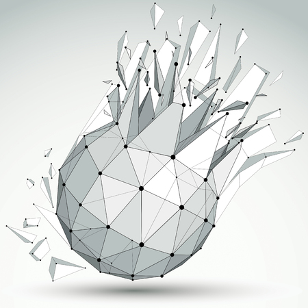 refractions: Vector dimensional wireframe grayscale object, spherical demolished shape with refractions and wreckage. 3d mesh technology element broken into pieces. Illustration