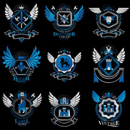 citadel: Collection of vector heraldic decorative coat of arms isolated on white and created using vintage design elements, monarch crowns, pentagonal stars, armory, wild animals. Illustration