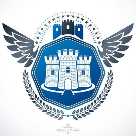bastion: Heraldic emblem isolated vector illustration. Illustration