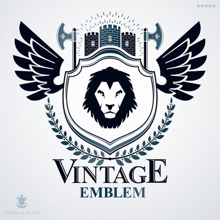 winged lion: Heraldic coat of arms decorative emblem. Vectores