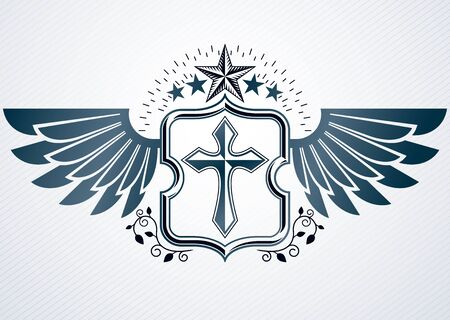 Vintage decorative heraldic vector emblem composed with Christian religious cross, eagle wings and pentagonal stars