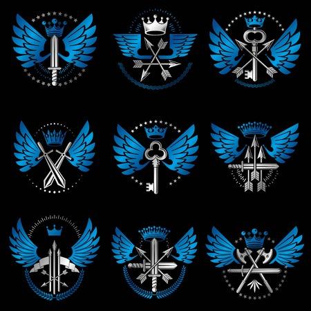 arsenal: Vintage Weapon Emblems set. Heraldic Coat of Arms, vintage vector emblems collection.