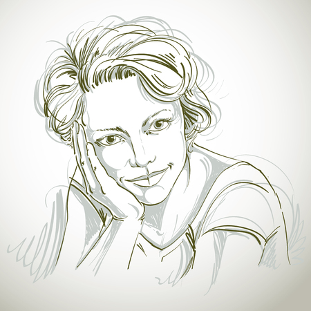 Portrait of delicate dreamy good-looking woman, black and white vector drawing. Emotional expressions idea image.
