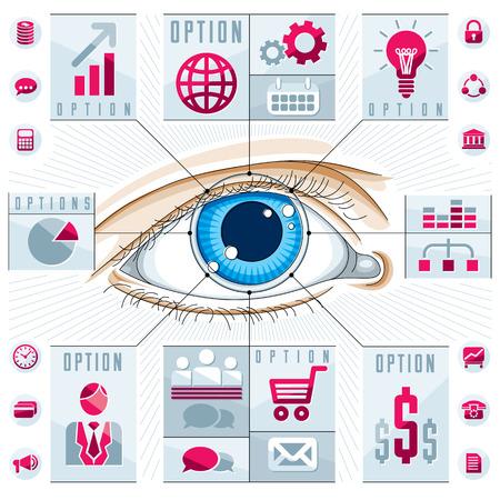 human eye: Creative infographics, human eye, looking eye idea,,vector illustration.