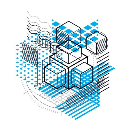 perspectiva lineal: Abstract vector background with isometric lines and shapes. Cubes, hexagons, squares, rectangles and different abstract elements.