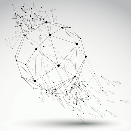 3d vector low poly grayscale object with black connected lines and dots, geometric wireframe shape with refractions. Asymmetric perspective shattered form.