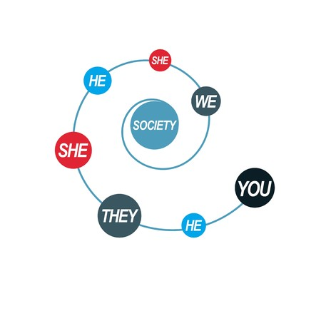 he she: Social Relations conceptual , unique vector symbol. Society and Person, social interaction.