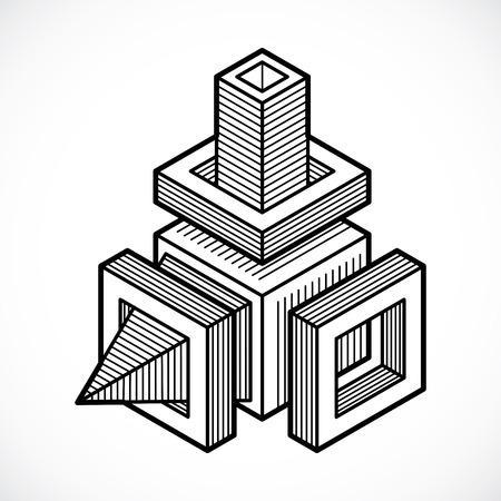 Engineering abstract shape, vector polygonal figure. Illustration