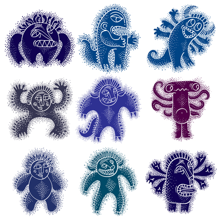 snoot: Set of vector cool cartoon monsters, colorful weird creatures. Clipart mythic characters for use in graphic design and as mascot.