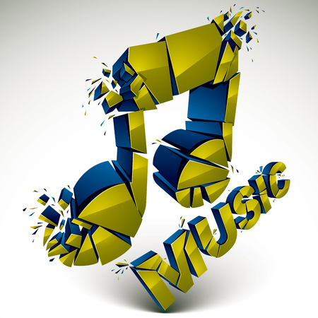 3d vector green demolished musical notes, music word. Dimensional groove design element with refractions, explosion effect.