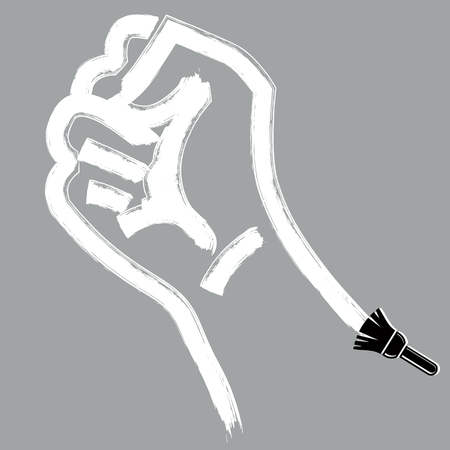 brushed: Vector brushed illustration of clenched fist held in protest, hand gesture expressing strength and aggression. Conflict conceptual drawing created with brushstrokes.