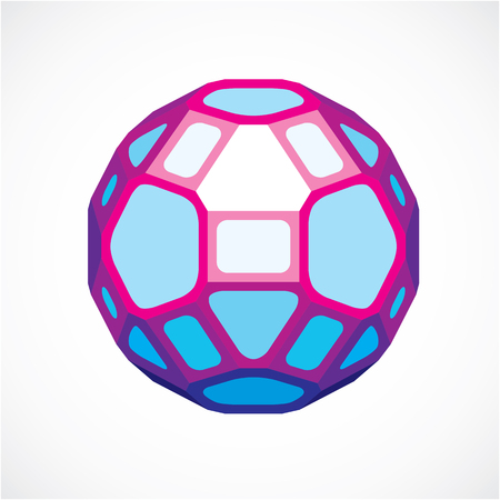 3d ball made with black lines, futuristic origami abstract modeling. Purple vector low poly design element, cybernetic orb shape for use in science and technology. Illustration