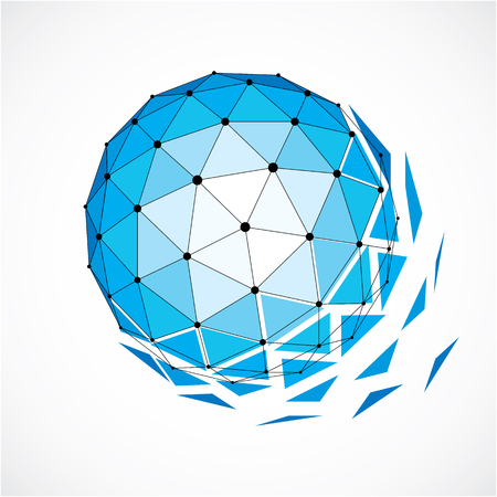 Abstract 3d faceted figure with connected black lines and dots. Blue vector low poly design element, cybernetic orb shape with grid and lines mesh.