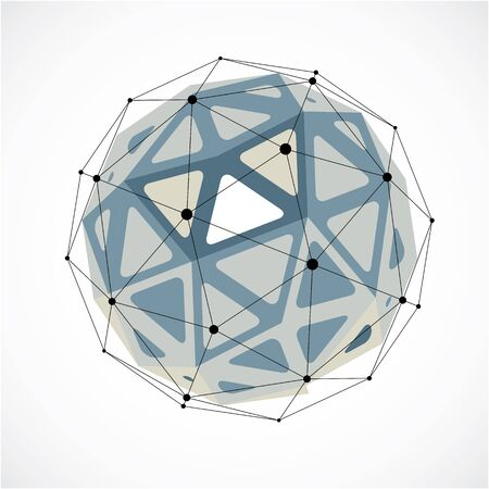 gray netting: Vector dimensional wireframe low poly object, grayscale spherical shape with black grid. Technology 3d mesh element made using triangular facets for use as design form in engineering.