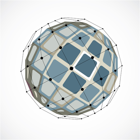 gray netting: Abstract 3d faceted figure with connected black lines and dots. Vector low poly gray design element created with squares. Cybernetic orb shape with grid and lines mesh.