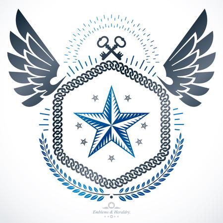 eagle shield and laurel wreath: Vintage heraldry design template, vector emblem.
