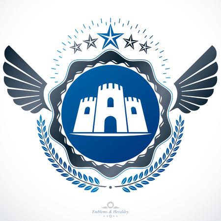 Heraldic signs vector vintage elements. Illustration