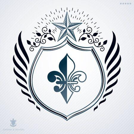 Vintage decorative emblem, heraldic vector composition.