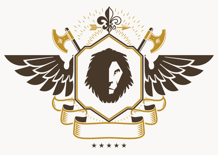 Vintage decorative heraldic vector emblem composed using eagle wings, wild lion illustration and hatchets