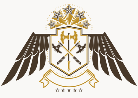 Vintage decorative heraldic vector emblem composed using eagle wings, hatchets and pentagonal stars