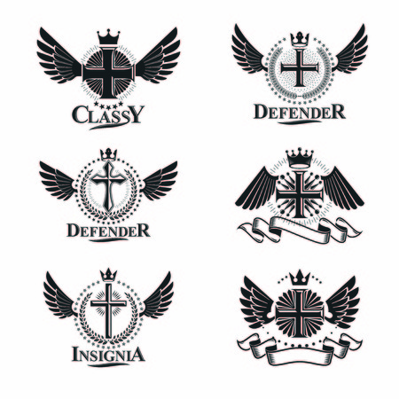 christian crosses: Christian Crosses emblems set. Heraldic Coat of Arms decorative logos isolated vector illustrations collection. Illustration
