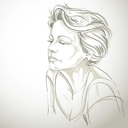 Hand getekende portret van de blanke huid trieste vrouw, gezicht emoties thema illustratie. Mooie treurige dame stellen op een witte achtergrond.