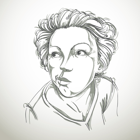 making face: Graphic vector hand-drawn illustration of white skin attractive dazed lady with stylish haircut. People face expressions. Girl making a grimace.