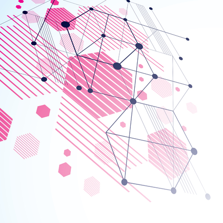modernism: 3d vector Bauhaus abstract magenta background made with grid and overlapping simple geometric elements, hexagons and lines. Retro style artwork, graphic template for advertising poster.