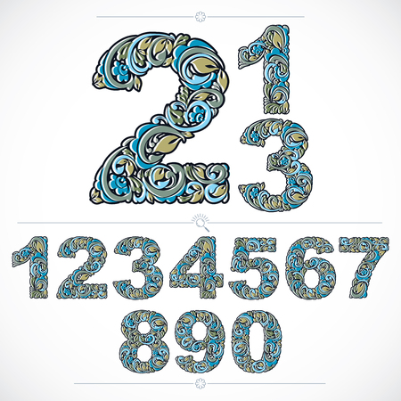 Floral numerals, hand-drawn vector numbers decorated with botanical pattern. Blue ornamental numeration, digits made in vintage design. Illustration