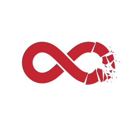 everlasting: Crashed Infinity Loop vector symbol, conceptual logo special design. Everything Ends idea.
